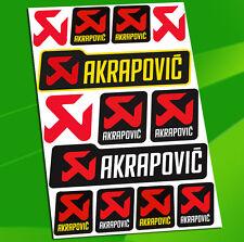 13 Autocollants Auto Moto Vinyle Stickers Akrapovic Echappement Exhaust Racing