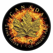 2016 Burning Maple Leaf Ruthenium and 24K Gold Plated 1Oz Silver Box/COA