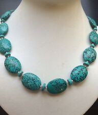 """289 CT.NATURAL RICH BLUE GREEN REAL TURQUOISE  SILVER NECKLACE 18.5"""""""