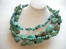 Silpada Sterling 4 Strand Turquoise Obsidian Bead Necklace N1299  757501