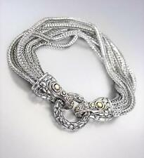 UNIQUE Silver Fox Chain Cables BALINESE Ring & Hook Magentic Clasp Bracelet