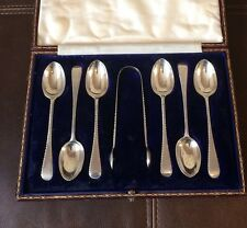 Antique Silver Teaspoons & Sugar Tongs - Goldsmiths Silversmiths Co London 1911