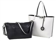 SYDNEY LOVE 3 in 1 REVERSIBLE TOTE BAG w/ INNER HANDBAG ~ BLACK/WHITE ~ NEW