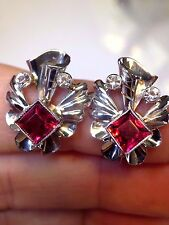 Fabulous and Fun! Estate 1930's 14K White Gold Synthetic Ruby Earrings