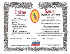 Russian Systema 11x14 Certificate