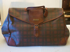 Vintage Ralph Lauren Polo Leather & Canvas Brown Plaid Luggage Travel Bag