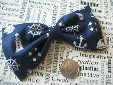 "HANDMADE 4"" NAVY NAUTICAL PRINT COTTON FABRIC BOW HAIR CLIP RETRO SAILOR STYLE"