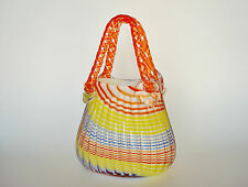 Murano ART GLASS Candy Cane Striped Purse Basket Vase Hand Blown Ground Pontil