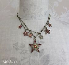 Vintage Danish PILGRIM Multi Strand Necklace STAR Charm Gold Red Swarovski BNWT