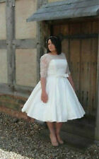 Tea Length Half Sleeve Wedding Dresses Bridal Gowns Plus Size Custom