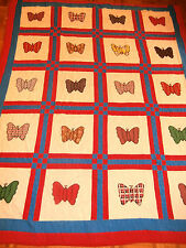"""Vintage Butterfly pattern quilt 66"""" x 80"""" hand appliqued Nice, soft feelin"""