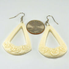 Rose Triangle Earrings – Hanger Earrings - Bone