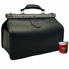 Doctors bag Medic case BINGEN, black leather, Made in Germany - BARON of MALZAHN