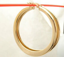 """2"""" Technibond All Shiny Flat Round Hoop Earrings 14K Yellow Gold Clad Silver"""