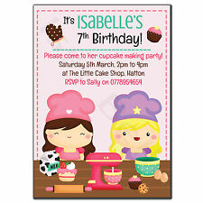 Personalised Childrens Birthday Party Invitations Thank You Cupcake Baking Cook