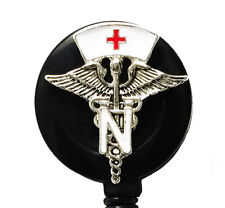 Retractable ID badge holder reel - Medical Symbol with White Nurse Hat