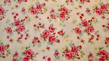 Ivory/Cream with Pink Rose Flower Shabby Chic 100% Cotton Fabric By Half metre
