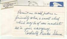 Preston Slosson Autographed Index Card Note 1972 Michigan History Writer