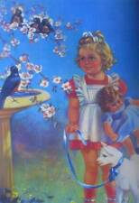 Little Girl with Doll Lamb watching Birds Vintage art Colorful