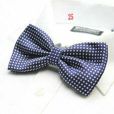 MENS Luxury 2 Layer NAVY BLUE with WHITE Polka Dot Dickie Bow Tie Adjustable NEW