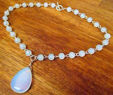 Moonstone Wired Chain Linked 8mm Beads & Large Tear Drop Pendant Toggle Necklace