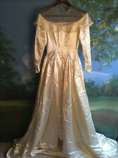 Vintage Candlelight Wedding Gown Dress Chapel Train Satin Sz S Small 4/6