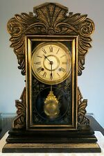 Antique Jerome & Co Gingerbread American Striking Clock with Oak Case c1850s GWO