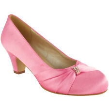 5119ab35aed Pink No Doubt Wedding Shoes Ladies Low Mid HEELS Bridal Bridesmaid Party  Size 6
