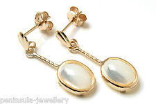 9ct Gold Mother of Pearl Oval short Drop earrings Made in UK Gift Boxed