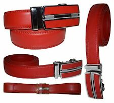 New Men's Belt Red Leather Dress Belt Auto Lock Sliding Buckle Up to 34 inches.