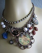 BETSEY JOHNSON VINTAGE CHERUB LAMB CAMEO BOW FLOWER STATEMENT NECKLACE~RARE