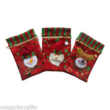 3 Pack x Mini Christmas Fabric Gift - Treat - Party - Jewellery - Sweetie Bags
