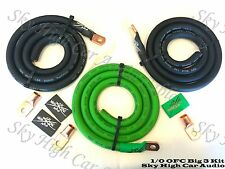 Sky High Oversized 1/0 Gauge OFC AWG Big 3 Upgrade GREEN/BLACK Electrical Wiring