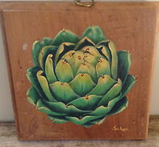 "Vintage 1970's Oil Painting of Artichock on Wood Plaque wall Art 7.5""x7.5""singed"