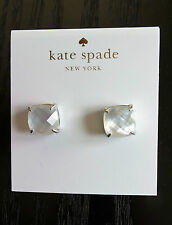 KATE SPADE Silver-Plated Cream Small Square Stud Post Earrings NEW