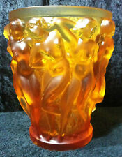 Lalique Amber Bacchantes Vase Brand New With Original Lalique Box