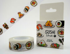 Japanese sushi 10m washi tape in cute box! Onigiri rice balls, tofu & more!