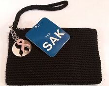 NWT The Sak Crochet Knit Clutch Make Up Cosmetic Bag Purse Breast Cancer Logo