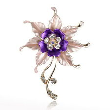 Purple Flower Leaf Crystal Wedding Rhinestone Enamel Charm Pin Brooch Bouquet