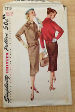 Vintage 1950s 1960s SIMPLICITY Women Sewing Pattern 1719 Two-Piece Suit B34