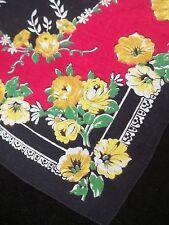 Vintage Yellow Red Black Hankie Flower Print Handkerchief Floral Hanky 569
