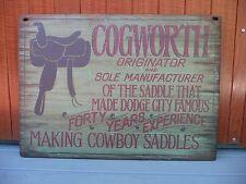 """Rustic Wood Sign Cogworth Saddle Maker 30"""" x 22"""" NEW"""