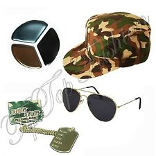 Army FancyDress Camouflage Hat DogTag Gold Aviator Face Paint Mens Ladies Unisex