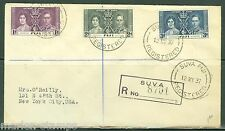 FIJI CORONATION OF KING GEORGE VI REGISTERD FIRST DAY COVER TO NEW YORK CITY