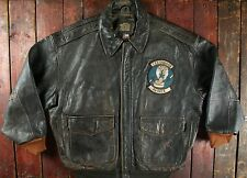 VTG AVIREX USAAF TYPE A-2 LEATHER T33 COBRAS FLIGHT BOMBER JACKET SHORT XL