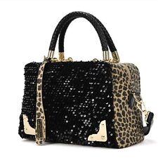 HOT Women Sequin Leopard Leather Black Messenger Cross Shoulder Bag Tote Handbag