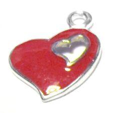 5 pieces 13x17mm coeur en alliage de zinc émail charme pendentifs-A0811