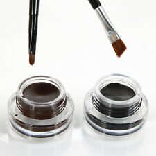2Pcs Waterproof Eye Liner Eyeliner Shadow Gel Makeup Cosmetic Brush Black Brown