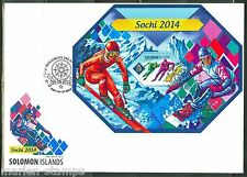 SOLOMON ISLANDS 2014 SOCHI WINTER OLYMPICS SKATING & SKIING S/S FDC