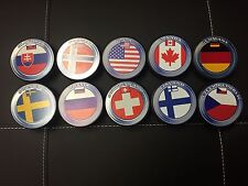 Lot of 10 IIHF International Hockey Pucks USA Canada Russia Sweden Finland
